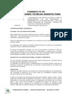 Especificaciones Tecnicas Arquitectura EDUCACION