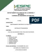 Informe 3 Sistema de Transmisión Caja de Velocidades Para Trancción Posterior (1)