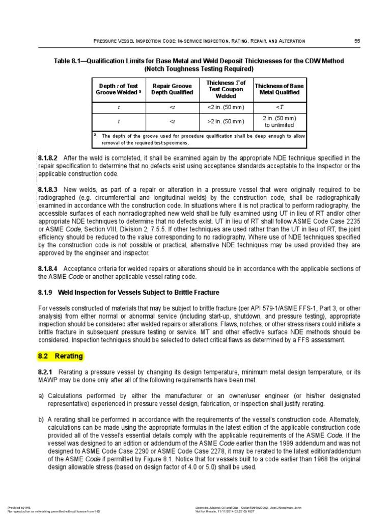 API 510 Rerating Extract pdf | Welding | Mechanical Engineering