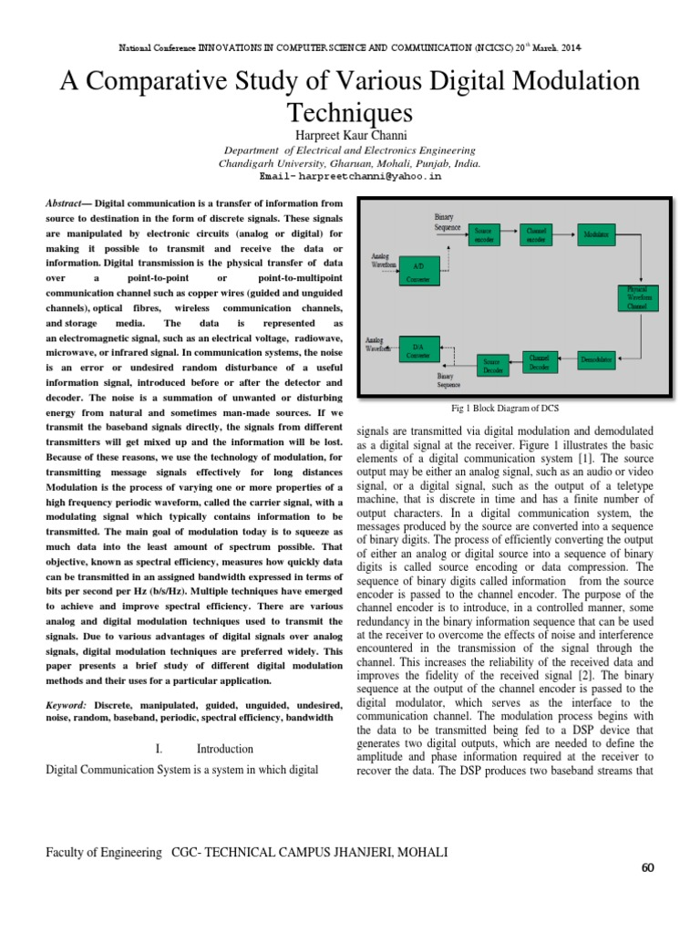 A Comparative Study Of Various Digital M 1pdf Modulation Block Diagram Communication System Orthogonal Frequency Division Multiplexing