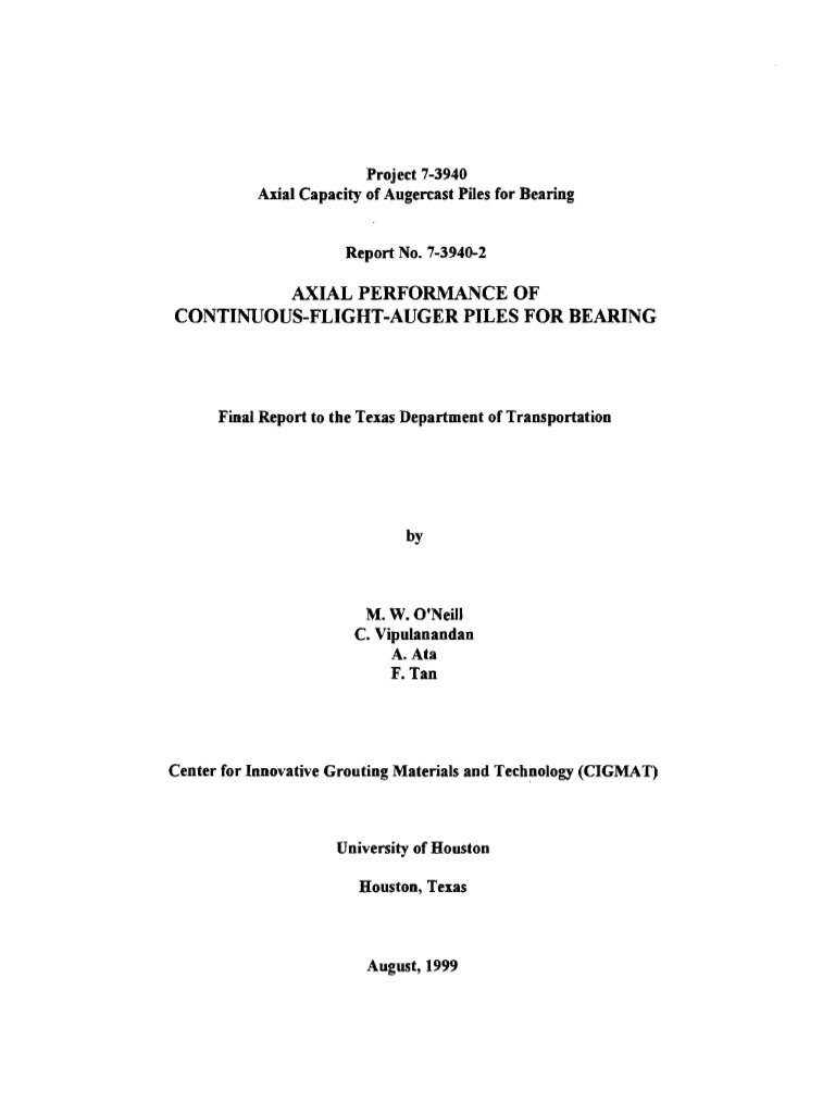 axial performance of continuous flight auger piles in bearing deep