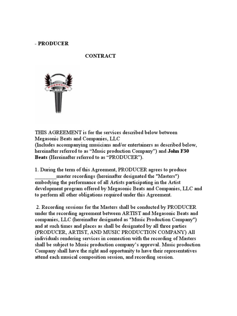 Music Production Company and Producer Contract   Intellectual ...