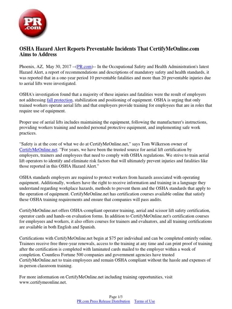 Osha Hazard Alert Reports Preventable Incidents That Certifymeonline
