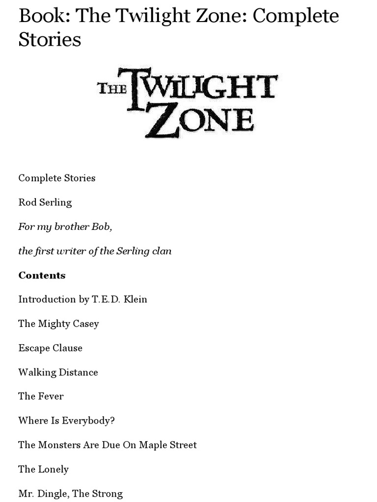 5d49aec4c67 Book  The Twilight Zone  Complete Stories