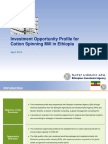 EIA-OSS Cotton Spinning Mill Investment Opportunity Profile