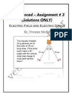 Only SOLUTIONS to IIT ADVANCED Assignment # 3 on Electric Field and Electric Dipole