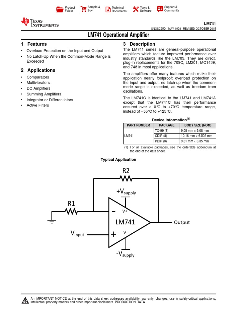 Lm741 Operational Amplifier Circuit