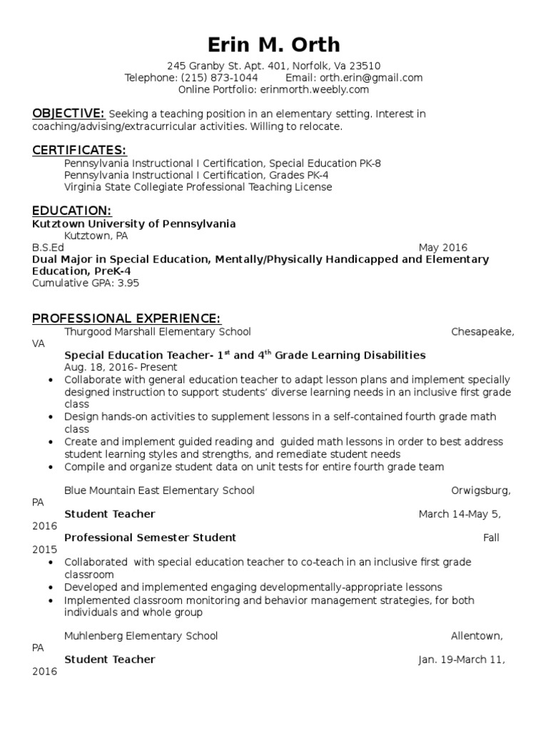 Erin M Orth Resume Special Education Lesson Plan