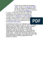 Carabineros de Chile Es Una Institución de Policía Uniformada en Chile