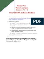 ACTIVIDADES PARA ESTUDIANTES DE PRIMER AÑO  SECCIONES C-D ÁREA LENGUA PROFESORA ZORAYA PINEDA