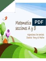 ACTIVIDADES PARA ESTUDIANTE DE 3er AÑO SECCIONES A-B MATEMÁTICA PROFESORA YENNY DE MEDINA