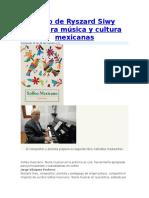 Libro de Ryszard Siwy Revalora Música y Cultura Mexicanas