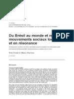 Du Brésil Au Monde Et Retour_ Mouvements Sociaux Localisés Et en Résonance