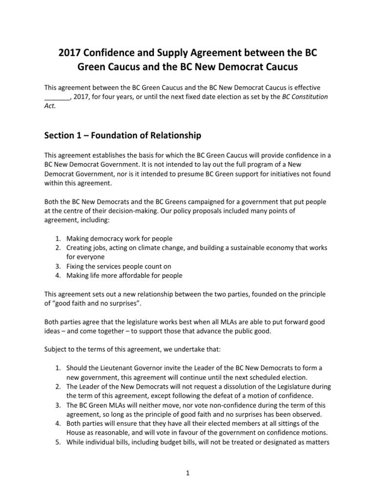 2017 Confidence And Supply Agreement Between The BC Green Caucus And The BC  New Democrat Caucus | Democratic Party (United States) | United States ...