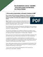 Convenios Relacionados Con El Turismo Que El Perú Haya Realizado en Materia Turística Con Otros Países