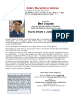 Ben Shapiro.How to Debate a Liberal—and Win.Newport Harbor Republican Women.Luncheon ~ Thursday, April 25, 2013, 11:30 a.m. to 1:30 p.m. ~ $35 The Pacific Club, 4110 MacArthur.