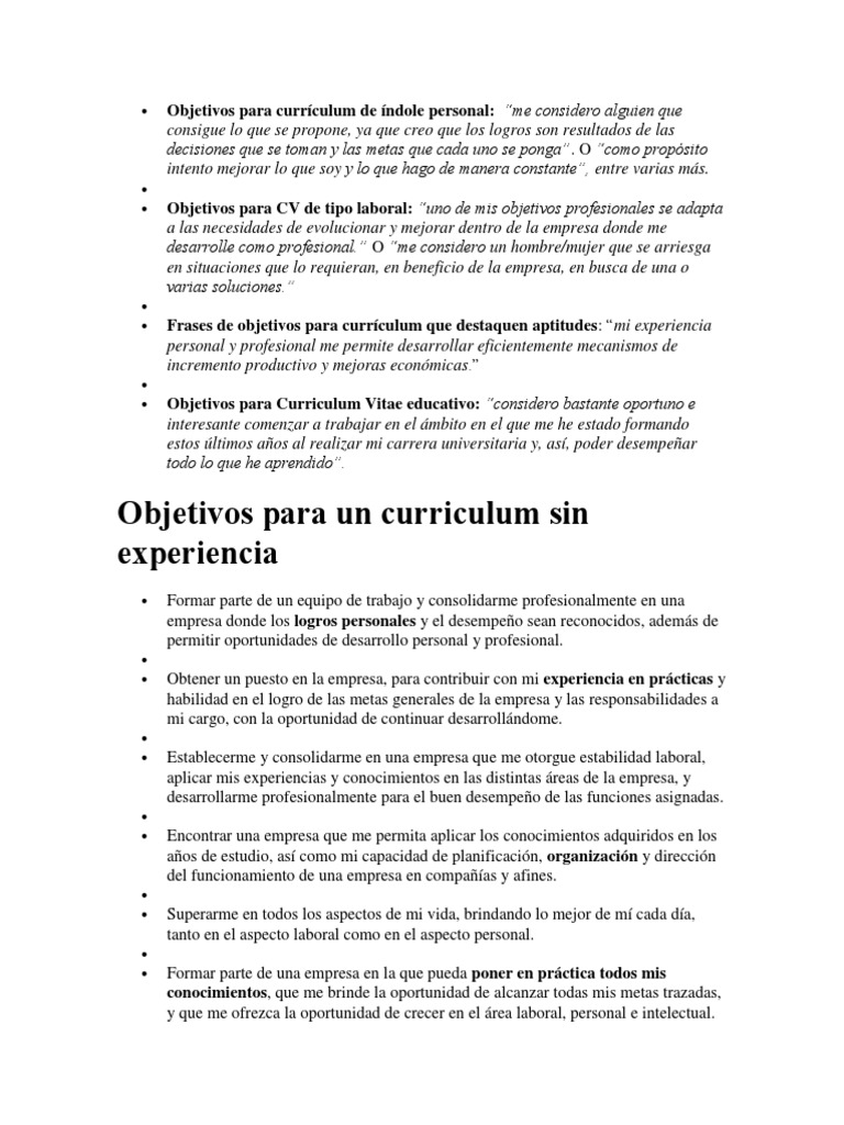 Objetivos Para Currículum