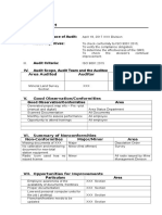 ISO Audit Report Sample