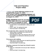 English 12 Pride and Prejudice Summer Reading Project Ideas.doc