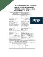 Guía Para Realizar Especificación de Procedimientos de Soldaduras Precalificados Según Código Aws Ansi