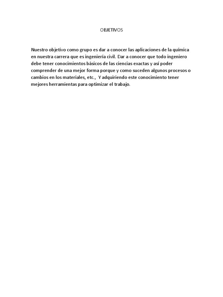 Informe La Quimica Aplicada en La Ingenieria Civil