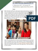 Delhi University Admission 2017–18 Details DU UG/PG Courses Registration, Application Form ADVT