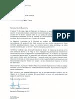 Carta del Govern a la Comisión de Venecia sobre las condiciones del referéndum