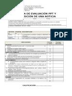 Pauta de Evaluación Ppt y Exposión de La Noticia