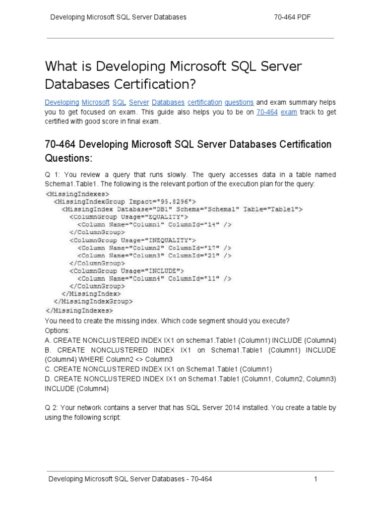70 464 certification guide and how to crack exam on developing 70 464 certification guide and how to crack exam on developing microsoft sql server databases microsoft sql server database index xflitez Gallery