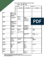 Permanent Exam Schedule June 2017 Grade 11-12