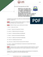 Lei Ordinaria 1952-2012 - Planta de Valores Genéricos de Palmas - TO