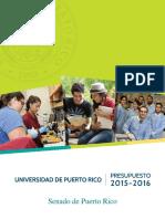Informe de Presupuesto UPR al Senado 2015-2016