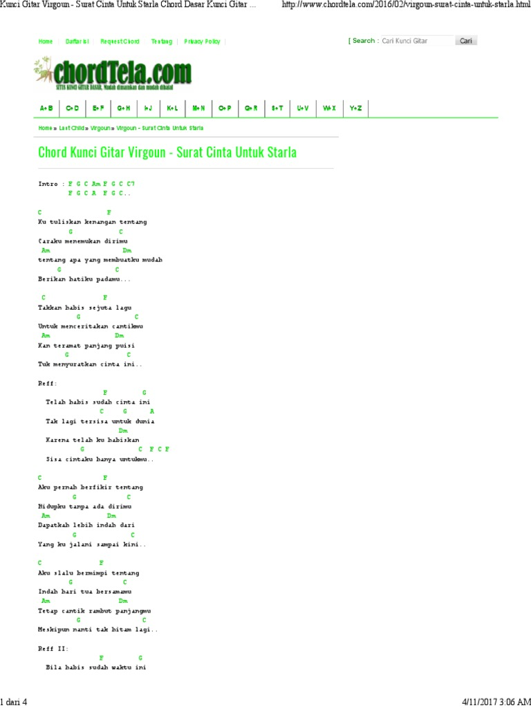 Chord Gitar Surat Cinta Untuk Starla Chord Gitar Lagu Lagu