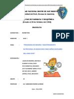 MARKETING. PROGRAMA DE MEJORA Y MANTENIMIENTON NUTRICIONAL EN DESAYUNOS PARA NIÑOS ESCOLARES DEL CONO ESTE