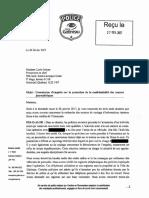 Lettre du chef du SPVG à la Commission Chamberland