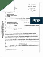 Temporary Restraining Order  - Marijuana Regulations