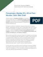 Frecuencias de Celulares EEUU-Peru