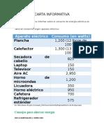 Carta Informativa Consumo de Energia