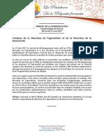 Communiqué - Direction Agriculture Et Direction Biosécurité