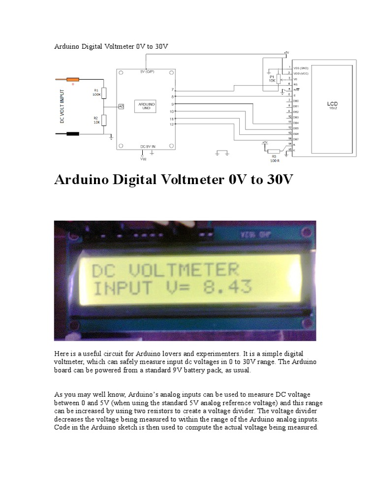 Arduino Digital Voltmeter Voltage Related Image With Circuit