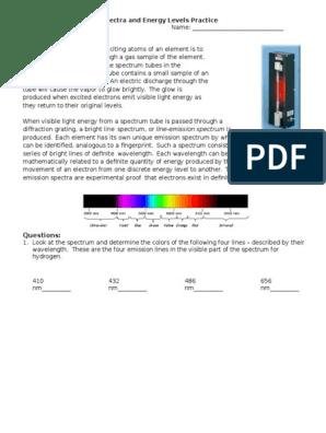practice emission spectra | Emission Spectrum | Energy Level