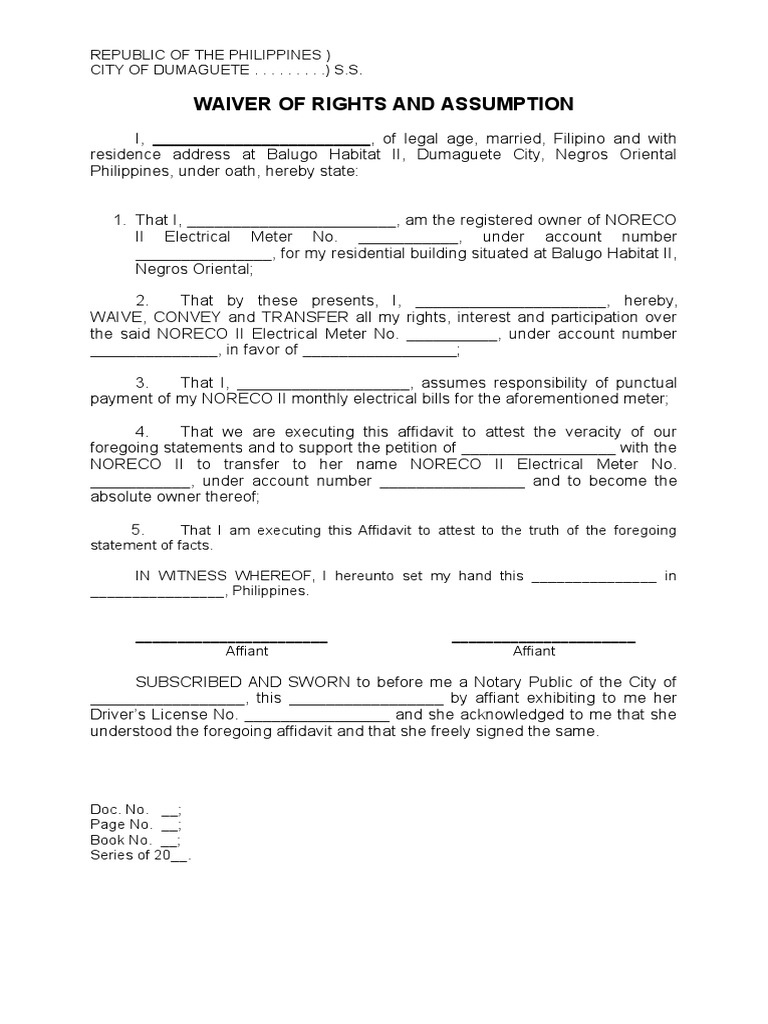 Waiver and Assumption for Installation of Electricity