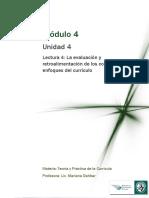 Lectura 4 - La Evaluación y Retroalimentación de Los Contenidos y Enfoques Del Currículo