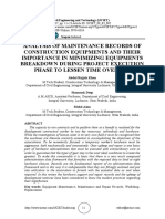 ANALYSIS OF MAINTENANCE RECORDS OF CONSTRUCTION EQUIPMENTS AND THEIR IMPORTANCE IN MINIMIZING EQUIPMENTS BREAKDOWN DURING PROJECT EXECUTION PHASE TO LESSEN TIME OVERRUN