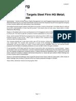 Bloomberg Activist Quarz Targets Steel Firm HG Metal; Sees 40% Upside 31 May 2017