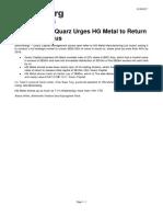 Bloomberg Activist Fund Quarz Urges HG Metal to Return Capital, Refocus 31 May 2017