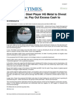 Straits Times Activist Urges Steel Player HG Metal to Divest BRC Asia Stake; Payout Excess Cash to Investors 1 June 2017
