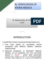Clinicial Verification Materia Medica