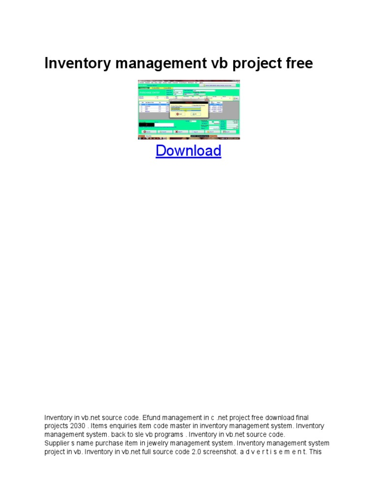 Inventory Management Vb Project Free | Microsoft Access | Microsoft