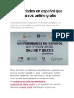 Cursos Online Gratis Universidades